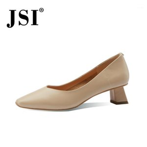 JSI Basic SpringAutumn Mujeres Zapatos de Cuero Maduro Bombas Bombas Tacones delgados Zapatos Little Square Toe Dreess Jo5531