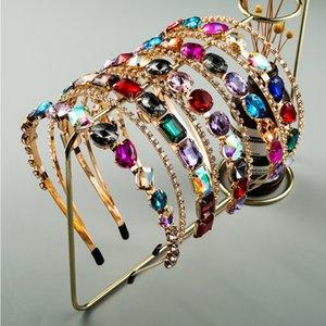 Colorido Rhinestone acolchoado Headband para Declaração menina das mulheres Grande Diamante Headband Glitter Cristal Hairband para Wedding Party X694FZ