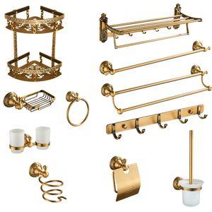 Antique Brass Bathroom Accessories Set Shelf Towel Bar Cup Holders Hairdryer Rack Tissue Holder Roll Paper Holder Soap Dish LJ201211