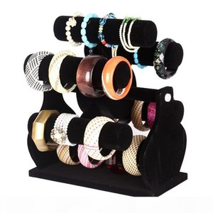 Six-Layer Rotating Black Velvet Windmill Watch Bracelet Bangle Storage Rack Holder Jewelry Display Stand Jewellery Counter Showcase Props