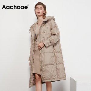AACHOAE Kış Kadın Mont Katı Renk Moda Uzun Aşağı Ceket Fermuar Uzun Kollu Düğme Kalın Sıcak Kapüşonlu Ceket 201104