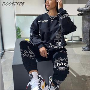 Zooeffbb caída de Graffiti 2 piezas de este conjunto Top de manga larga y Sweatpants Vestidos para las mujeres ropa chándal Lounge Sets de desgaste a juego