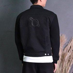 20FW Lettre broderie Veste en jean tricot manches Printemps Automne Femmes Hommes Splicing Outwear High Street Simple Denim Vestes HFYMJK394