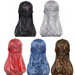 Unisexe Silky Durag Hologramme Coloré Cercle rond Tête à longue queue Hip Hop Hop Pirate Hat Turban Bonnet Skull Cap1