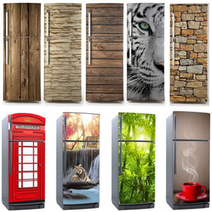 3D Dishwasher Fridge Sticker Refrigerator Wrap Freezer Skin Home Art Fridge Door Cover Wallpaper Renewable Kitchen Accessories 201202