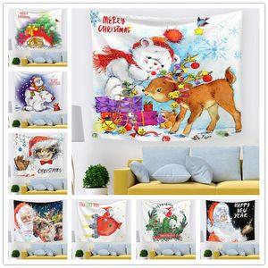 Noël tapisserie Décoration murale Décoration Printed Tapisseries pour le salon fête d'anniversaire de mariage Décor 150x130cm Nouvel An DWA1659