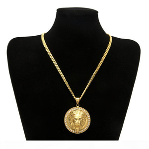 Mens Hip Hop Jewelry Iced Out Gold Color Fashion Bling Bling Lion Head Pendant Men Necklace Gold Color For Gift present