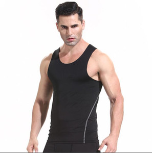 Mens gym quick-drying sports tights vest t-shirt short sleeve basketball training running stretch summer fitness Tank Tops jogger size S-XXL