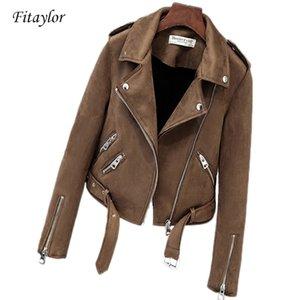 Fitaylor Yeni Sonbahar Süet Bayan Motosiklet Faux Deri Kadın Biker Ceket Ince Beyaz PU COAT Y201012