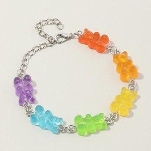 Gummy Bear bonito dos desenhos animados meninas braceletes de doces cor resina mulheres aniversário artesanal jóias1
