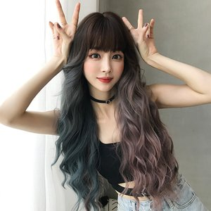 Ladies Wig with Bangs Big Wave Realistic Full Head Long Curly Hair Wavy Curly Hair (two Color)