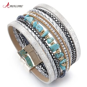 Amorcome Blue Natural Stone Leather Bracelets For Women Trendy Boho Braided Rope Wide Multilayer Wrap Bracelet Female Jewelry
