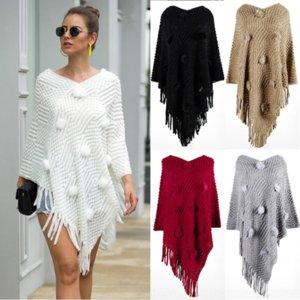 43sv5 otoño e invierno 2020 nuevo servicio de mujer suéter chal moda suzhou cape chal pelota de pelo color sólido suéter