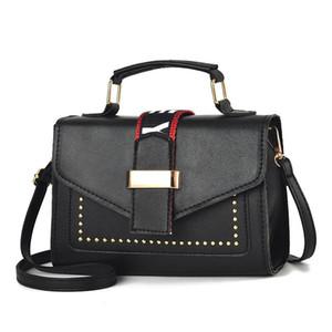 Cross Body Studded Leather Small Square Bag Luxury Fashion Lady Messenger Printing Elegant One-shoulder Designer Handbag Purse