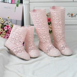 Mädchen-Kind-Sommer-Sandelholz-Frauen-Mädchen-Mutter-Tochter-Matching Rom Boots Hohle Druck Weiblicher Casual Schuhe ShortHigh Stiefel