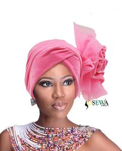HQT31 Hot Selling Turban Nigeria headtie Ladies Velvet Tuban Gele HeadWrap Muslim Arabic Bonnet Flower Hat For Wedding And Party1