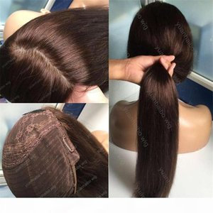 8A Sınıf İnsan Saç Kahverengi Renk 4 En Iyi Sheitels Ipek Üst Yahudi Peruk Moğol Bakire Saç Düz Koşer Peruk Kapaksız Peruk Ücretsiz Nakliye