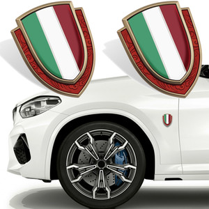 Side Body Fender Shield Italy Flag Badge Logo Sticker For Fiat Ferrari Maserati Al Romeo 500 Trunk Nameplate Metal Car Styling