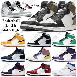 7-13 chaussures de basketball Top High 1 OG Revente Noir Toe Banne milieu de chicago Track Red 1s UNC mens chaussures de sport de marque Sneakers