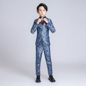 YuanLu Kids Suit For Boy Children Blazer Jacket Formal Suit For Wedding Party Piano Flower Slim Fit set Blue Dresswear bbUy#