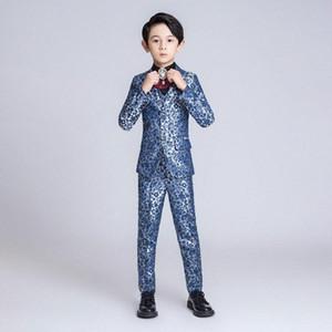 YuanLu Kids Suit For Boy Children Blazer Jacket Formal Suit For Wedding Party Piano Flower Slim Fit set Blue Dresswear bbUy#