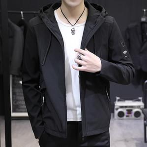 Мода-Мужские куртки пальто Новая весна осень мужчин вскользь куртка с капюшоном корейских Ветровки Верхняя одежда Мужской одежды Плюс размер M-7XL
