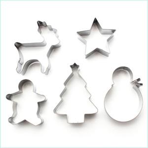5шт / Set Christmas Cookie Пресс-формы из нержавеющей стали Mold Cake Mold выпечки Набор инструментов Формы для выпечки Gadget XD24095