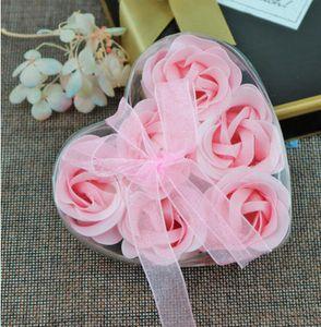Pétalo de la flor de jabón de rosa con la cesta de hierro en forma de corazón de la forma de la flor de la flor de la caja de regalo de la flor del cumpleaños de la boda regalo del día de las madres gge3892-1