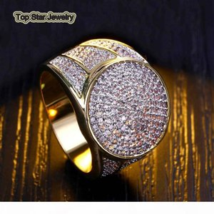 High Quality Real Copper Rings Shiny Micro CZ Punk Finger Jewelry For Mens Hip Hop Trendsetter Rock Rapper Accessories Gifts Size 7-11