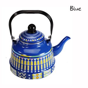 2.5L Whistling Enamel Tapot with Steel Handle Exquisite Enamelled Stovetop Kettle Traditional Bone China Teapots Luxirious Metal Jug GGD2282
