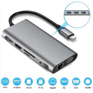 Multifonction 10 IN 1 USB-C Hub 3 ports USB 3.0 Audio HDTV VGA SD TF lecteur RJ45 Ethernet PD charge pour MacBook Tablet