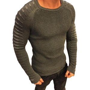 2021 Sonbahar Erkekler Rahat Sewater Fit Örme Uzun Kollu Patchwork Pileli Kazak Erkek Elastik Katı İnce Seksi Kış Giyim