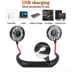 Hand Free Fan Sports Portable USB Rechargeable Dual Mini Air Cooler Summer Neck Hanging Fan Party Favor Sea Shipping OOA8109
