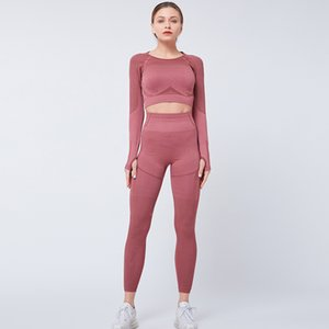 New 2 Piece Seamless Yoga Suit Women Gym Clothing Sports Shirts Long Sleeve Fitness Leggings Pants Women Sportswear Workout Set