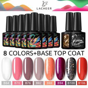 Lacheer Nagelgelpoliermittel 10ml Nail Art Maniküre glänzende Farbe Gel Soak Off UV / LED Langlebige Mit Base Top Coat Kit Pz5L #