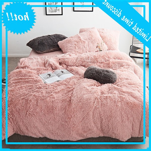 FB1901001 Pink White Fleece Fabric Winter Thick Pure Color Bedding Set Mink Velvet Duvet Cover King sheet Bed Linen Pillowcases