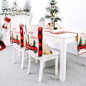 Christmas Table Runner Tablecloth Cotton Linen Table Cover Car Tree Flag Table Dress Tablecloth Eating Mat Christmas Decorations GGE2027