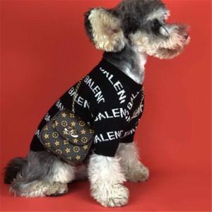 Carta de marea alta calidad de la marca Mascotas lana suéteres impreso manera que hace punto con capucha para mascotas de moda elástico Schnauzer Bichon traje de ropa