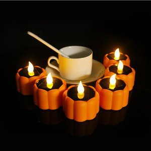Led Solar Candle Halloween Christmas Pumpkin Lamp Flashing Light Pumpkin Candles Flameless Candle Led Solar Candle Decoration GGE1684