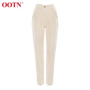 OOTN Casual taille haute kaki Pantalons Femmes Printemps Brown Ladies Bureau Pantalon zippée.Poche Femme Crayon solides Pantalons 200930