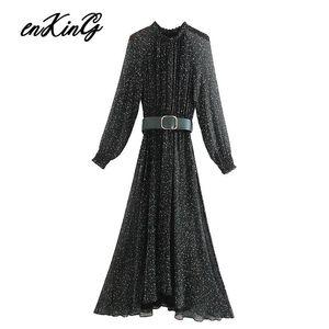 2020 england style sexy elegant floral printing belt party midi za dress women vestidos de fiesta de noche vestidos maxi dress T200623
