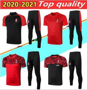 Высочайшее качество 2020 AC Milan Polo футбол тренировочный костюм Красная толстовка комплект выживка 20/21 AC Milan с коротким рукавом футбол спортивный размер S-2XL