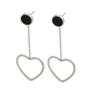 Simple Drop Earrings For Women 3 Colors Stainless Steel Heart Letter V Long Dangle Earrings Boucle D'oreille Femme 20201