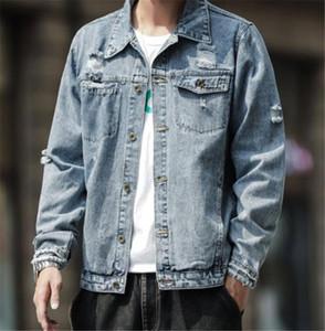 Hole Täblinger Herren Designer Jean Jacken Mode Button Taschen Täsche Herren Jean Jackets Casual Männliche Kleidung