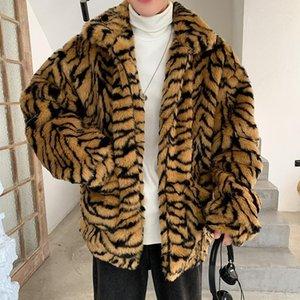 Inverno mulheres homens faux peles tigre padrão casaco casaco masculino moda solta casaco quente masculino streetwear engrossar outerwear