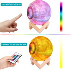 Moon Lamp Kinder Nachtlicht-Lampe 5,9 Zoll 16 Farben LED 3D Stern-Mond-Licht mit Holzständern, Fernbedienung Touch Control