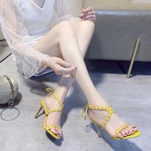 Rivet Fina Heel Sandals Mulheres Sexy Partido estilete Salto Verão tornozelo com Tiras Sapato de bico fino Abrir Toe High Heel Sandals Mulheres 2020 e495 #