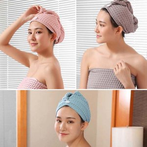 Waffle Triangle Shower Towel Cap Super Absorbent Dry Hair Cap Bath Wrap Hat Quick Turban Dry Household Item Toiletries 201019