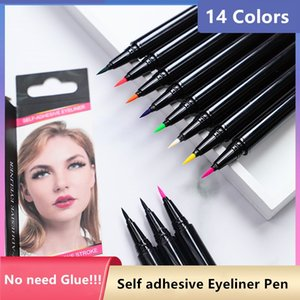 14colors Self adhesive eyeliner !! NO need Glue and it Can wear magnet eyelashes and normal eyelashes makeup tools DHL free ship