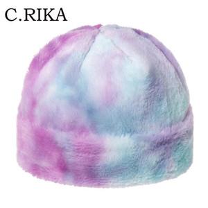 Осень Зима искусственного меха Радуга Многоцветный Tie Dye Skullies Caps Мода Хип-хоп толстый теплый Beanie Hat для женщин Девушки Gorros